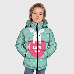 Детская зимняя куртка для мальчика с принтом Rabbit: Love you, цвет: 3D-черный, артикул: 10081990706063 — фото 2