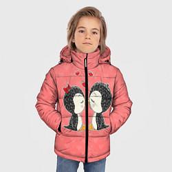 Куртка зимняя для мальчика Влюбленные пингвины цвета 3D-черный — фото 2
