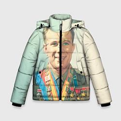 Детская зимняя куртка для мальчика с принтом Гагарин в орденах, цвет: 3D-черный, артикул: 10082403806063 — фото 1