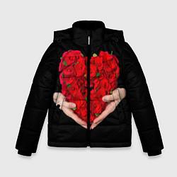 Куртка зимняя для мальчика Сердце роз в руках цвета 3D-черный — фото 1