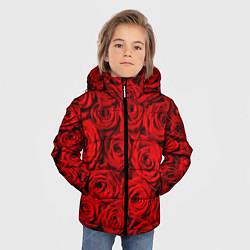 Детская зимняя куртка для мальчика с принтом Красные розы, цвет: 3D-черный, артикул: 10085386706063 — фото 2