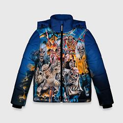 Детская зимняя куртка для мальчика с принтом Iron Maiden: Skeletons, цвет: 3D-черный, артикул: 10089879506063 — фото 1