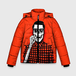 Куртка зимняя для мальчика Скелет хипстер цвета 3D-черный — фото 1