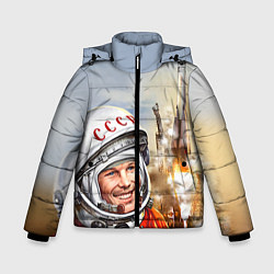 Детская зимняя куртка для мальчика с принтом Гагарин взлетает, цвет: 3D-черный, артикул: 10091681006063 — фото 1