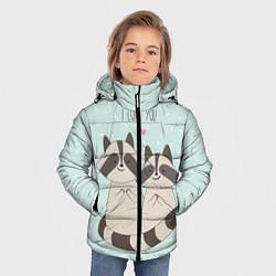 Куртка зимняя для мальчика Влюбленные еноты цвета 3D-черный — фото 2