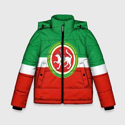 Куртка зимняя для мальчика Татарстан: флаг цвета 3D-черный — фото 1