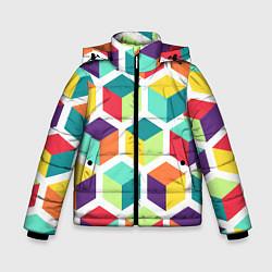 Куртка зимняя для мальчика 3D кубы цвета 3D-черный — фото 1