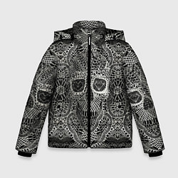 Куртка зимняя для мальчика Кружевной череп цвета 3D-черный — фото 1