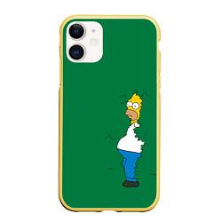 Чехол iPhone 11 матовый Гомер в кустах цвета 3D-желтый — фото 1