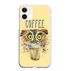 Чехол для iPhone 11 матовый с принтом Owls like coffee, цвет: 3D-белый, артикул: 10161640105889 — фото 1