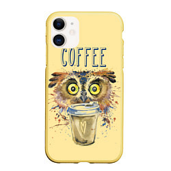 Чехол iPhone 11 матовый Owls like coffee цвета 3D-желтый — фото 1