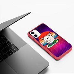 Чехол iPhone 11 матовый Woman yelling at a cat цвета 3D-красный — фото 2