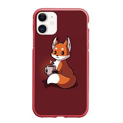 Чехол iPhone 11 матовый Кофе любят не только люди цвета 3D-красный — фото 1