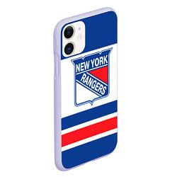 Чехол iPhone 11 матовый New York Rangers цвета 3D-светло-сиреневый — фото 2