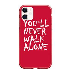 Чехол iPhone 11 матовый You'll never walk alone цвета 3D-красный — фото 1