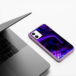 Чехол iPhone 11 матовый Цветные разводы цвета 3D-сиреневый — фото 2
