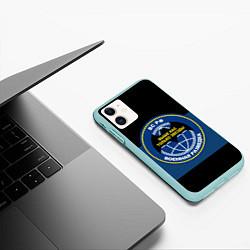 Чехол iPhone 11 матовый ВС РФ: Военная разведка цвета 3D-мятный — фото 2