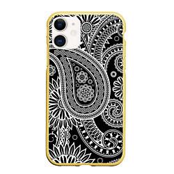 Чехол iPhone 11 матовый Paisley цвета 3D-желтый — фото 1
