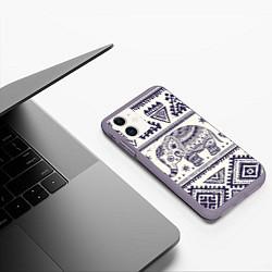 Чехол iPhone 11 матовый Африка цвета 3D-серый — фото 2