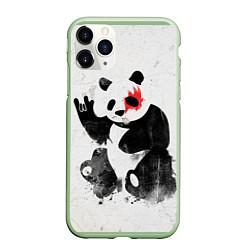 Чехол iPhone 11 Pro матовый Рок-панда цвета 3D-салатовый — фото 1