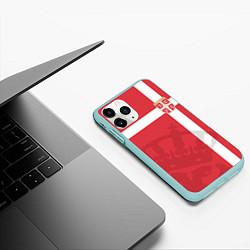 Чехол iPhone 11 Pro матовый Сборная Сербии цвета 3D-мятный — фото 2