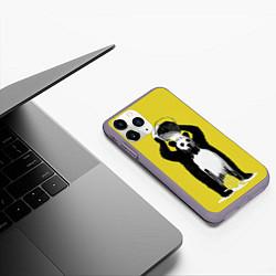 Чехол iPhone 11 Pro матовый Панда-маляр цвета 3D-серый — фото 2