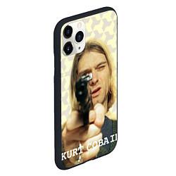 Чехол iPhone 11 Pro матовый Кобейн с пистолетом цвета 3D-черный — фото 2