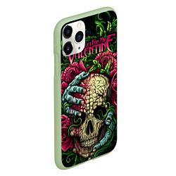 Чехол iPhone 11 Pro матовый BFMV: Roses Skull цвета 3D-салатовый — фото 2