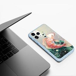 Чехол iPhone 11 Pro матовый Рыба цвета 3D-голубой — фото 2