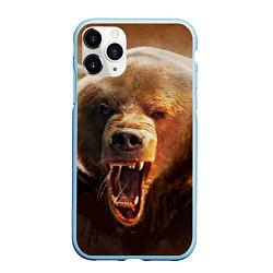 Чехол iPhone 11 Pro матовый Рык медведя цвета 3D-голубой — фото 1