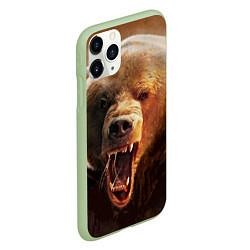 Чехол iPhone 11 Pro матовый Рык медведя цвета 3D-салатовый — фото 2