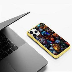 Чехол iPhone 11 Pro матовый Dota 2: All Pick цвета 3D-желтый — фото 2