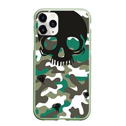 Чехол iPhone 11 Pro матовый Камуфляж цвета 3D-салатовый — фото 1