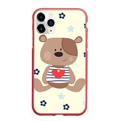 Чехол iPhone 11 Pro матовый Любовь мишки цвета 3D-красный — фото 1