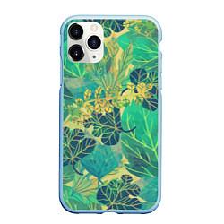Чехол iPhone 11 Pro матовый Узор из листьев