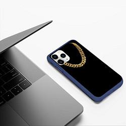 Чехол iPhone 11 Pro матовый Золотая цепь цвета 3D-тёмно-синий — фото 2