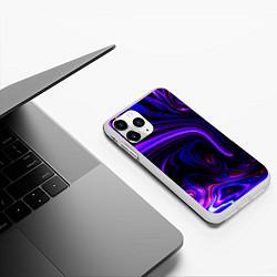 Чехол iPhone 11 Pro матовый Цветные разводы цвета 3D-белый — фото 2