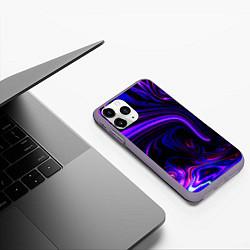 Чехол iPhone 11 Pro матовый Цветные разводы цвета 3D-серый — фото 2