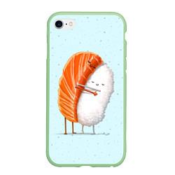 Чехол iPhone 6/6S Plus матовый Суши друзья цвета 3D-салатовый — фото 1