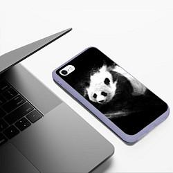 Чехол iPhone 6/6S Plus матовый Молочная панда цвета 3D-светло-сиреневый — фото 2
