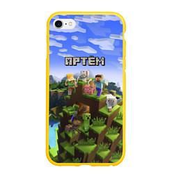 Чехол iPhone 6/6S Plus матовый Майнкрафт: Артём цвета 3D-желтый — фото 1