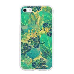 Чехол iPhone 6 Plus/6S Plus матовый Узор из листьев