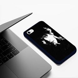 Чехол iPhone 6/6S Plus матовый Цой с сигаретой цвета 3D-черный — фото 2