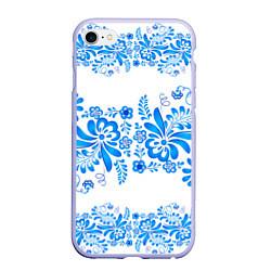 Чехол iPhone 6/6S Plus матовый Гжель цвета 3D-светло-сиреневый — фото 1