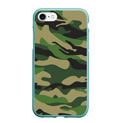 Чехол iPhone 7/8 матовый Камуфляж: хаки/зеленый цвета 3D-мятный — фото 1