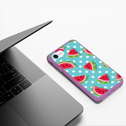 Чехол iPhone 7/8 матовый Арбузный рай цвета 3D-фиолетовый — фото 2