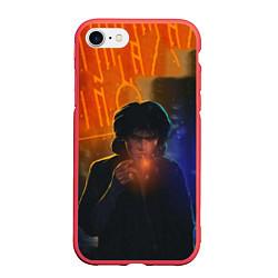 Чехол iPhone 7/8 матовый Виктор Цой в ночи цвета 3D-красный — фото 1