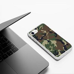 Чехол iPhone 7/8 матовый Камуфляж: хаки/зеленый цвета 3D-белый — фото 2