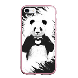 Чехол iPhone 7/8 матовый Panda Love цвета 3D-розовый — фото 1