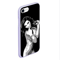Чехол iPhone 7/8 матовый Sexy Girl: Black & White цвета 3D-светло-сиреневый — фото 2